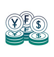 money currency coins yen franc and dollar vector image