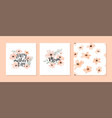 mothers day watercolor flower pattern card set vector image vector image