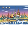 Old Town and River Daugava at night Riga Latvia vector image vector image