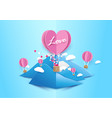 paper art style heart shape balloons background vector image