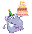 Purple Party Elephant Holding A Birthday Cake vector image vector image