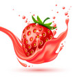 realistic red strawberry juice splash vector image vector image