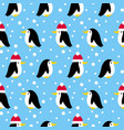 seamless pattern with many small penguins vector image vector image