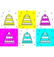 set cake icon isolated on color background happy vector image vector image