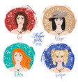 set of four zodiacs-leo virgo scorpio and libra vector image vector image