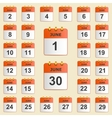 Set of icons for the calendar in June vector image vector image