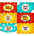 Set of Pop art comic sale discount banners vector image