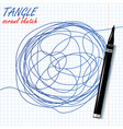 tangle scrawl sketch drawing circle vector image