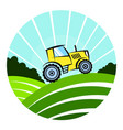 tractor working in the field vector image