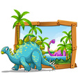 Two dinosaurs in wooden frame vector image vector image