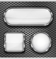 white glass buttons on metal perforated background vector image vector image