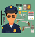 with policeman flat style elements for infographic vector image vector image