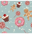 Sweet cape cakes pattern on blue background vector image