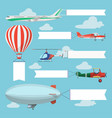 flying planes helicopter and airship pulling vector image
