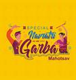 a couple navratri garba dance style logo template vector image