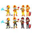 a fireman character set vector image