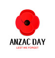 anzac day card paper cut red poppy flower vector image vector image