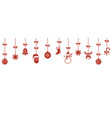 background with hanging christmas ornaments vector image vector image