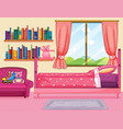 bedroom scene with pink bed vector image