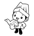 black and white happy chef mascot reading a book vector image