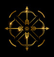 bow and arrows on black background archery emblem vector image vector image