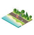 boy and girl cycling on countryside summer sunny vector image vector image