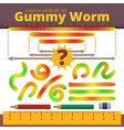 cartoon jelly gummy worms stretch measure set vector image