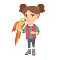 caucasian little girl holding parrot on her hand vector image vector image
