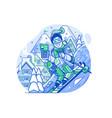 cheerful skier man with smart phone on slope vector image vector image