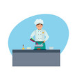 chef in branded clothes in modern hotel vector image vector image