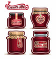 cherry jam in glass jars vector image