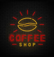 coffee shop neon vector image vector image