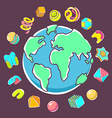 colorful of planet Earth on dark background vector image vector image