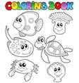 coloring book with marine animals 3 vector image vector image