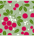 cowberry seamless pattern leaves flowers shabby vector image vector image
