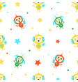 cute funny robots seamless pattern friendly alien vector image vector image