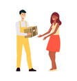 delivery man in overalls giving brown box to woman vector image