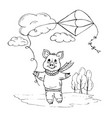doodle piggy playing with a kite on the street vector image