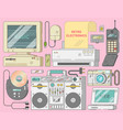 electronics collection from 90s vector image vector image