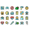 family doctor icons set flat vector image vector image