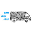 fast delivery car mosaic of dots vector image