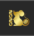 gold rat is symbol 2020 logo chinese new vector image