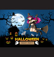 halloween night party witch on orange full moon vector image vector image