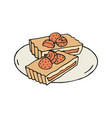 hand drawn of strawberry and almond vector image