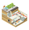 isometric underground station concept vector image vector image