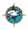 jumping shark colorful emblem vector image