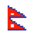 nepal flag pixel art cartoon retro game style set vector image