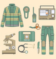 paramedical uniform and first help equipment set a vector image vector image