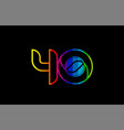 rainbow color colored colorful number 40 logo vector image vector image