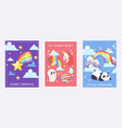 Rainbow dreams cards bright colorful sky with